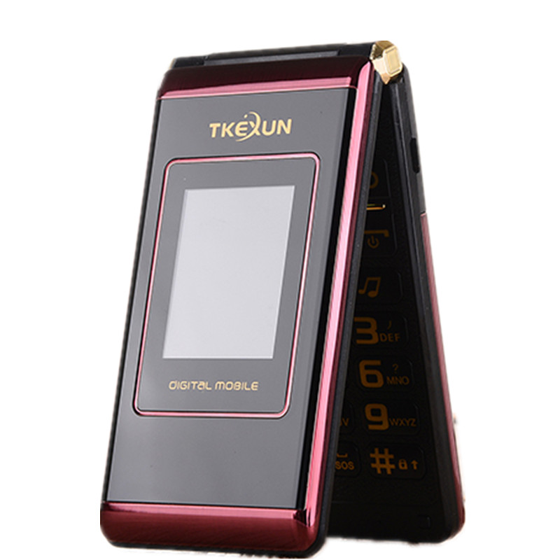 2017 New Original TKEXUN M1 Women Flip Phone Dual Screen Dual Sim Camera MP3 MP4 2.4 Inch Touch Screen Luxury Cell Phone