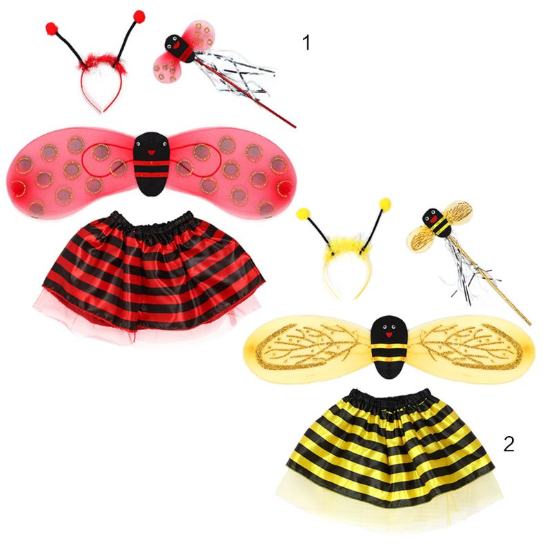4Pcs/Set Kid Fairy Costume Set Ladybird Bee Glitter Cute Wing Striped Layered Tutu Skirt Wand Headband Skirt Halloween Outfit