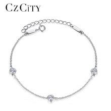 CZCITY Brand Simple Classic Cubic Zirconia Charm Women Chain Link Sterling Silver Bracelet for Women Female Fine Jewelry Gift