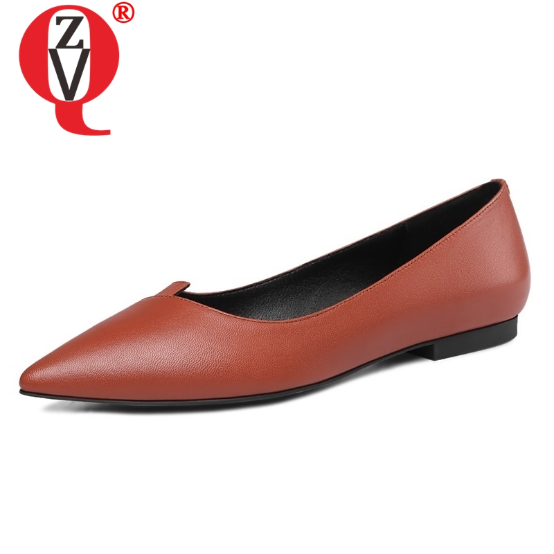 ZVQ shoes women 2019 summer newest shallow high quality genuine leather women flats outside three colors
