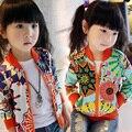 Nuevo 2015 chicas moda primavera verano ropa prendas de vestir exteriores de la flor cremallera de la rebeca escudo protector solar envío gratis