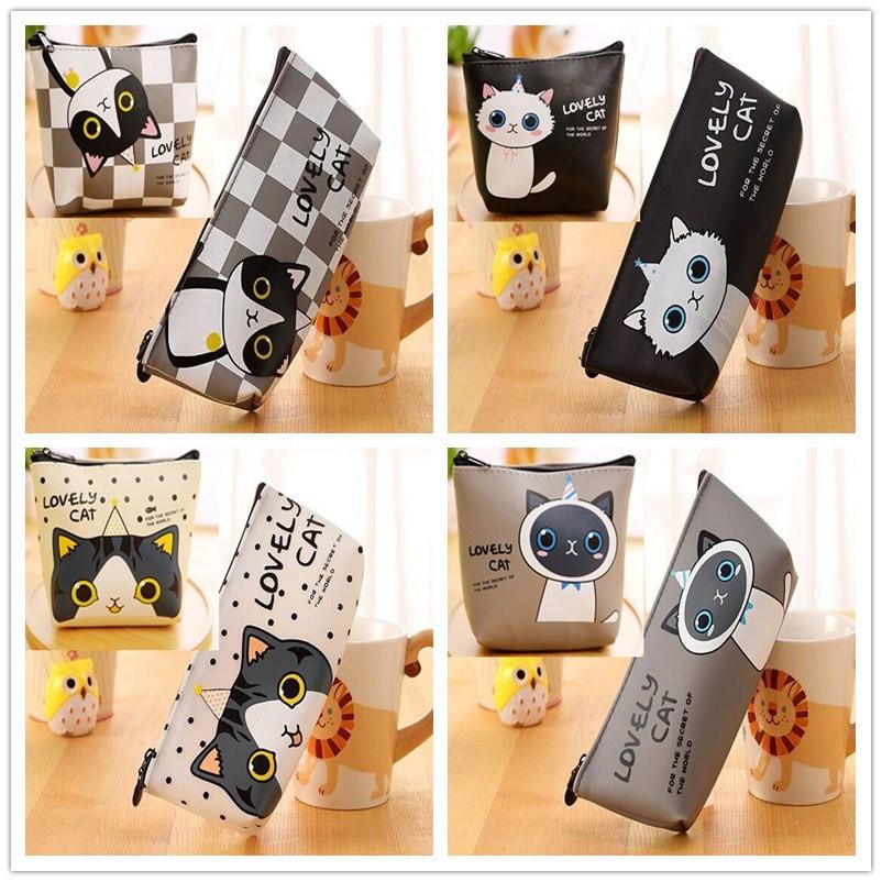 Kawaii Lovely 4 Cats BAG Set ; PU 12CM Coin Purse BAG , 20cm Coin Gift Wallet Pouch Case BAG ; Pocket Cash Change Bags Pouch