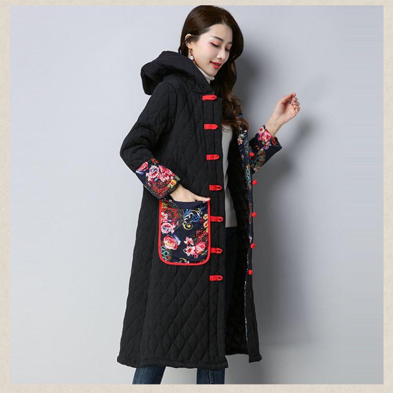 Black Femmes Mi Grand Szie De Nzyd1072 long Style Impression Veste Manteau 2018 Lâche Automne red Nouveau Vintage Capuche Mode Hiver Coton À zWTUwR4wqE