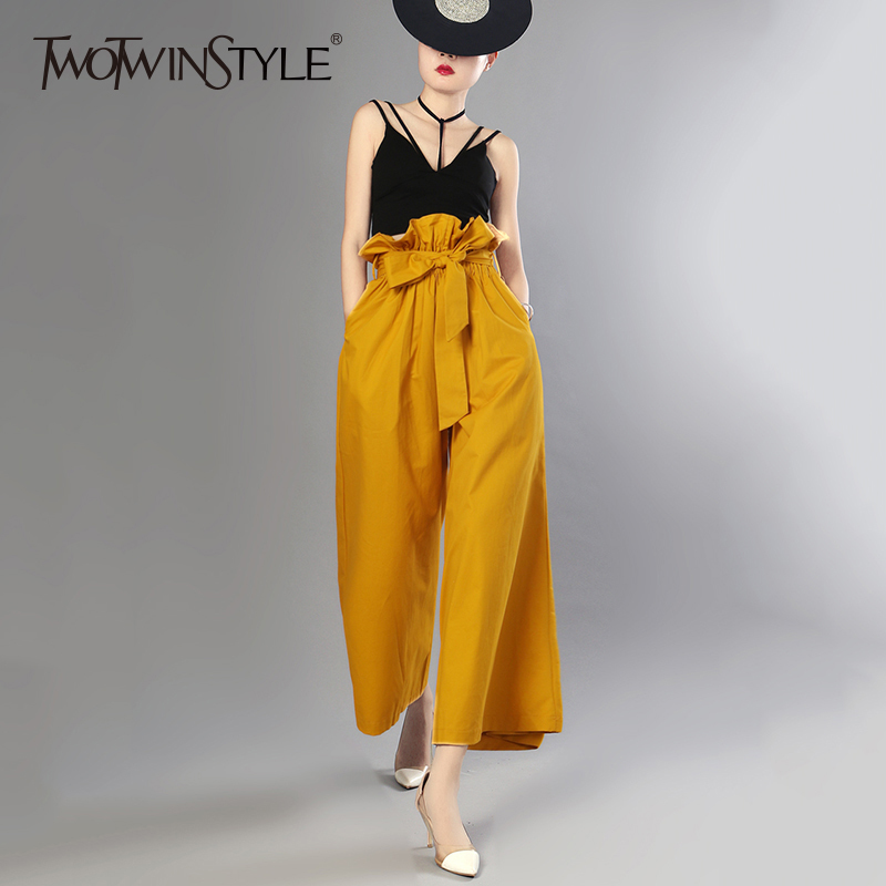 TWOTWINSTYLE Oversize   Wide     Leg     Pants   For Women High Waist Lace Up Bow Pocket Long Trousers 2018 Spring Fashion Casual Clothing