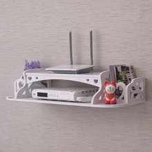 DIY Carved Wooden HDF STB Remote Control Holder TV Set-Top Decorative Wall Shelf Mobile Phone Storage Rack WiFi Router Organizer