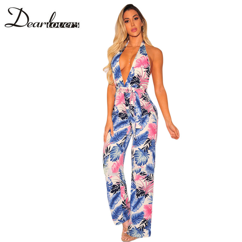 ff051441d47e Dear lovers Women Bodysuit With Belt Club Wear Rompers Floral Jumpsuit Sexy  Palm Print Halter Deep V neck Sleeveless Jumpsuit