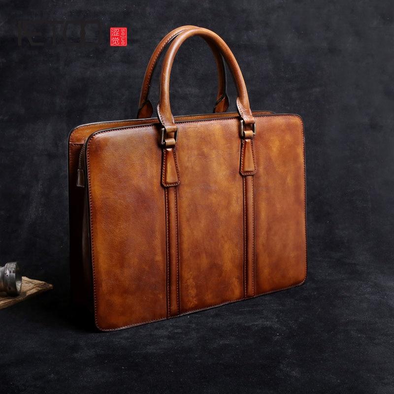 AETOO Première couche de cuir hommes sac à main d'affaires serviette occasionnel épaule rétro ordinateur