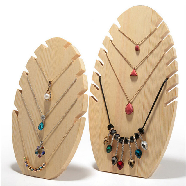 Bincoco Wood Necklace Display Holder For Jewelry Stand Showcase Storage