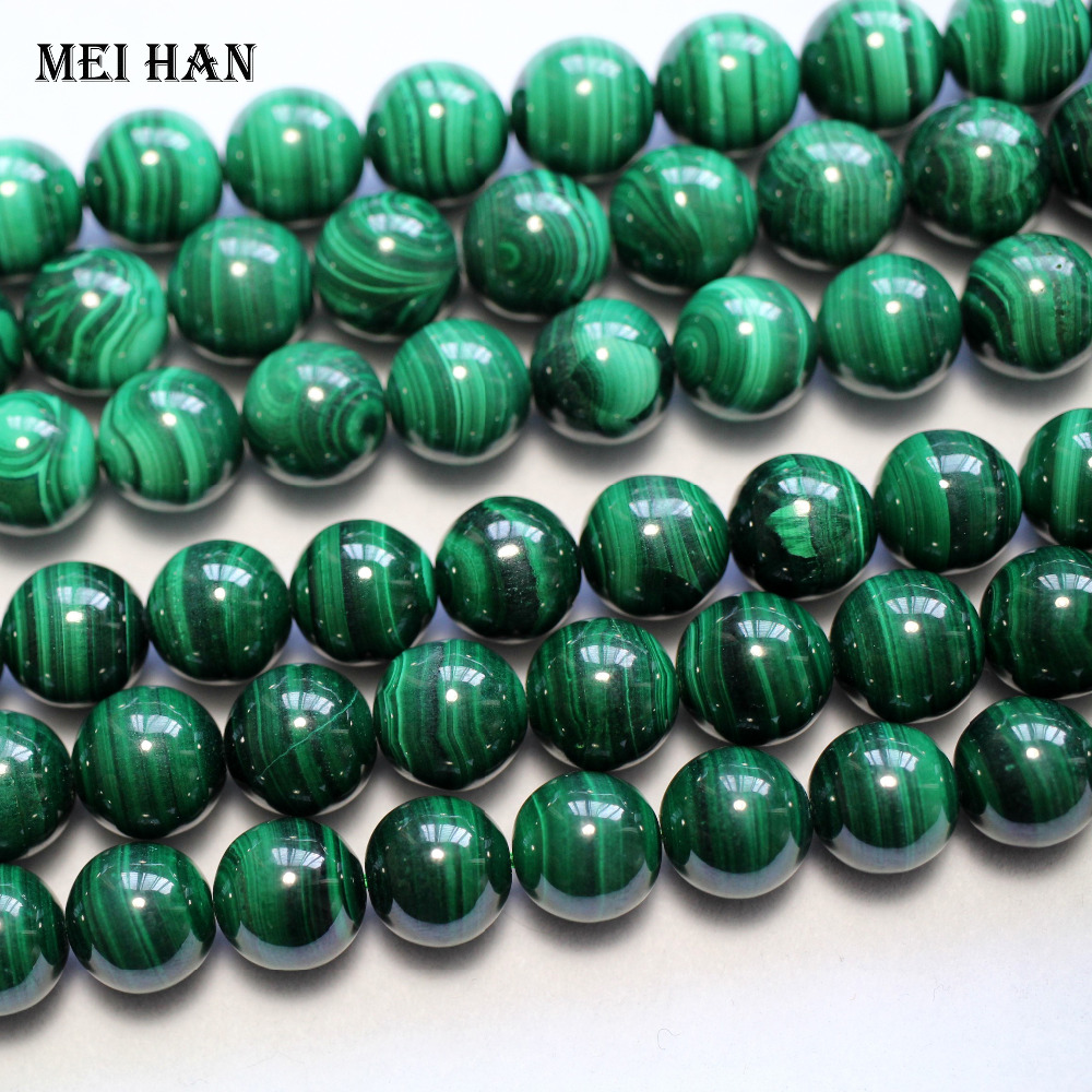 Meihan wholesale natural 11 2 12mm malachite stone smooth round loose beads for jewelry making design