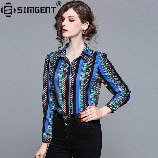 Simgent Office Women Blouse Long Sleeve Stripe Print Turn Down Collar Fashion Slim Women Chiffon Shirt Tops Haut Femme SG801213