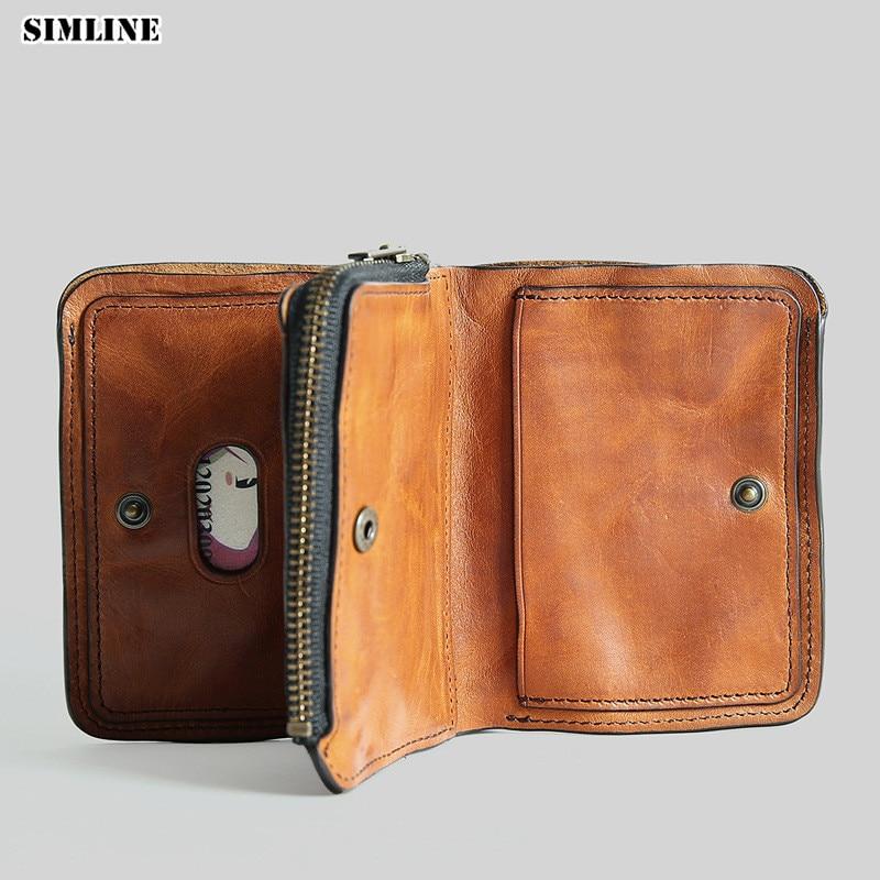 SIMLINE Genuine Leather Men Wallet Vintage Handmade Cowhide Men s Short Wallets Purse Card Holder Male