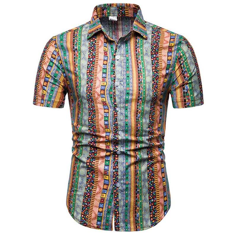 2019Mens Hawaiian Shirt Male Casual Camisa Masculina Printed Beach Shirts Short Sleeve Summer Men Clothes Shirts Asian Size 5XL