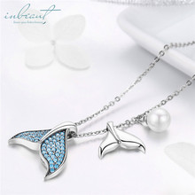 inbeaut Silver Blue Mermaid Tail Pendant Necklace Zircon White Pearl Ocean Fish Tear S925 Beads Necklace Chain for Women Jewelry