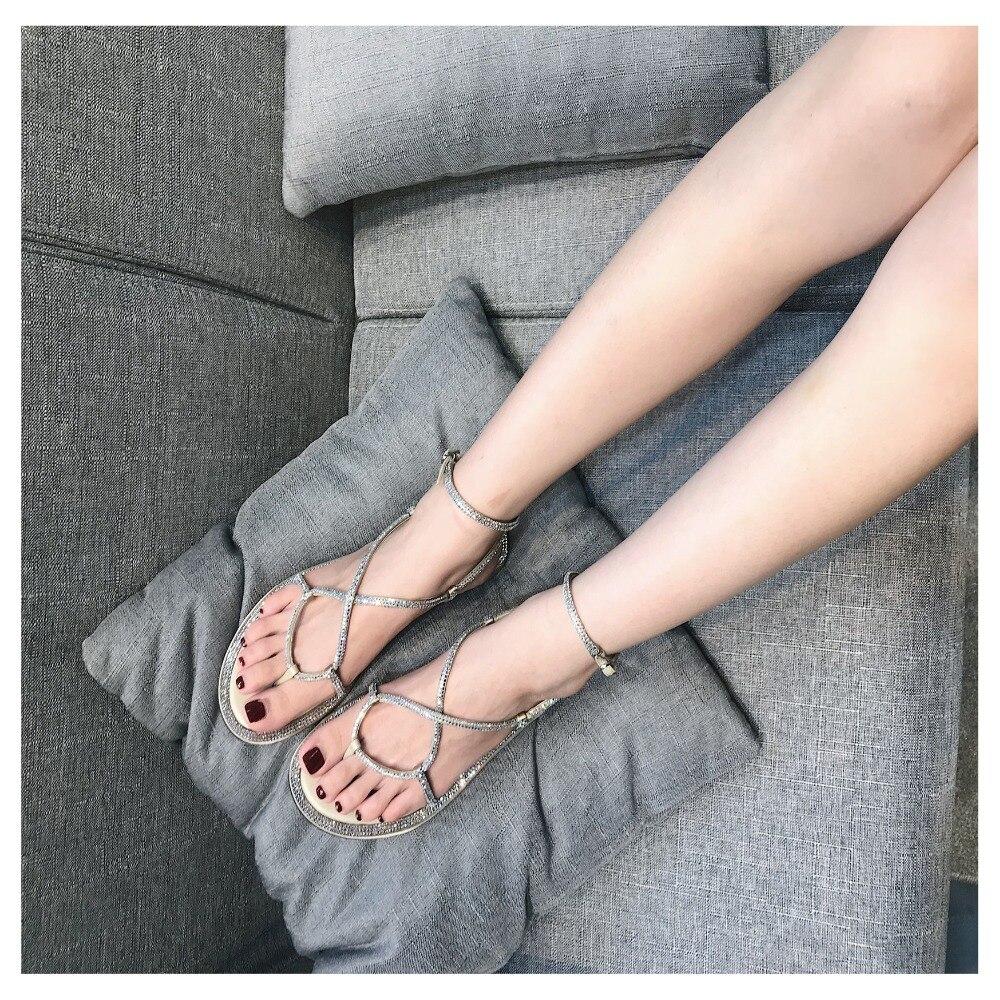 Appartements Cristal Chic Décontractées Pour As sangle Croix Femme Chaussons Bordedred Plage Sandales Pic Femmes Avant Chaussures pSgtq4