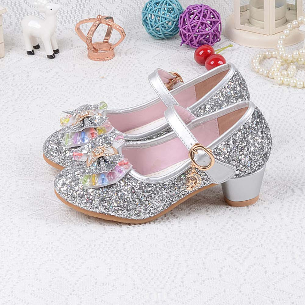 Crystal Cartoon Image Snow Fairy Girls Shoes Princess Bow Glitter Baby Girl  Shoes Leather High Heels Girls Dress Shoes for party-in Leather Shoes from  ... 13d841f12d4e