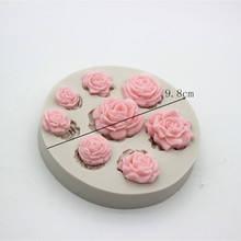 Wholesale Mini Flower turn over Sugar silicone Mold Cake Decoration soap making silica gel mold