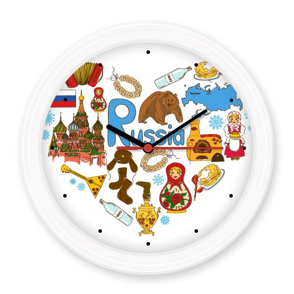 Russia Landmark Winter Element Patten Illustration Silent Non-ticking Round Wall Decorative Clock Home Decal Wedding Decoration
