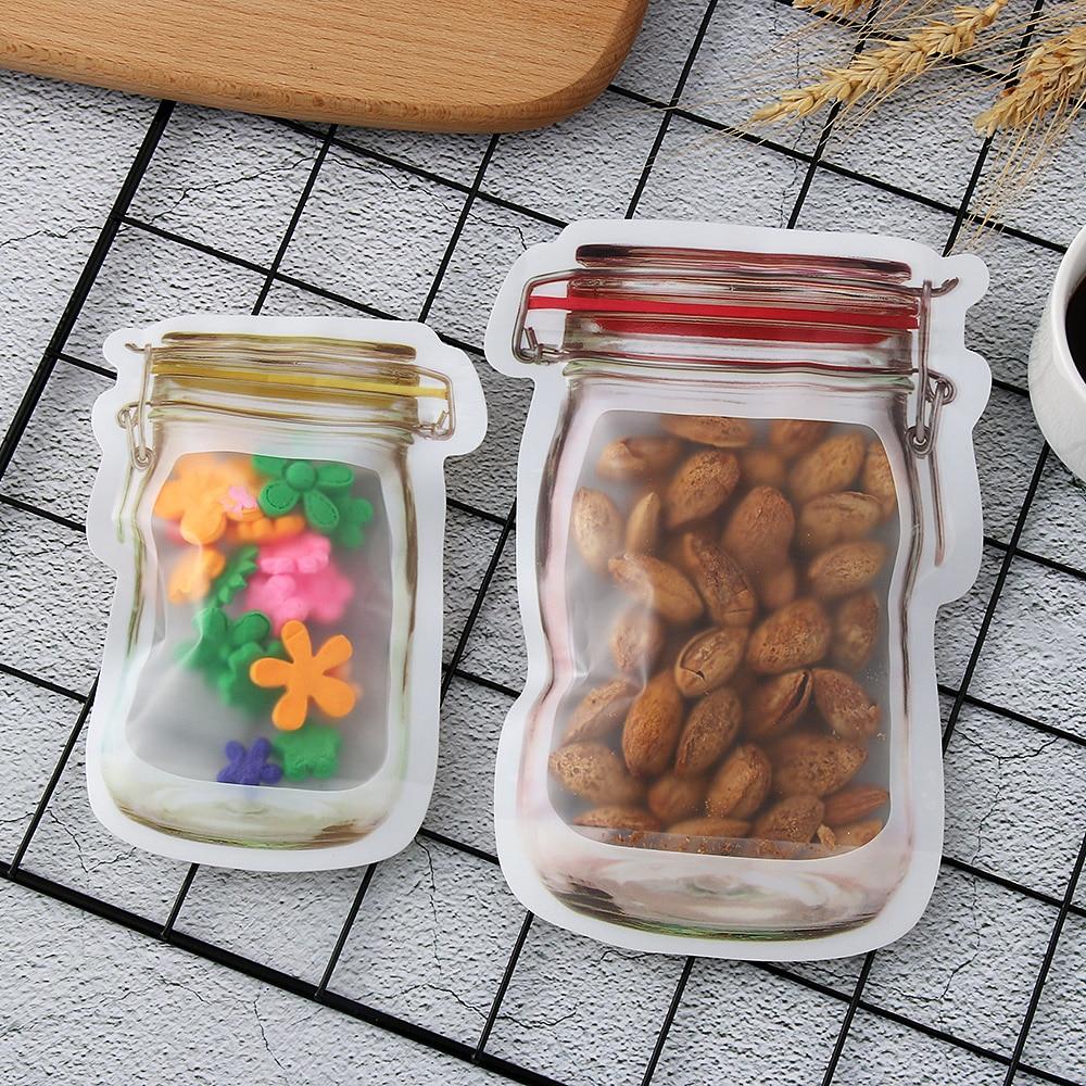 Up Reusable Zip Lock Smell-proof PE Plastic Storage Bag Zipper Pouch Mason Jar