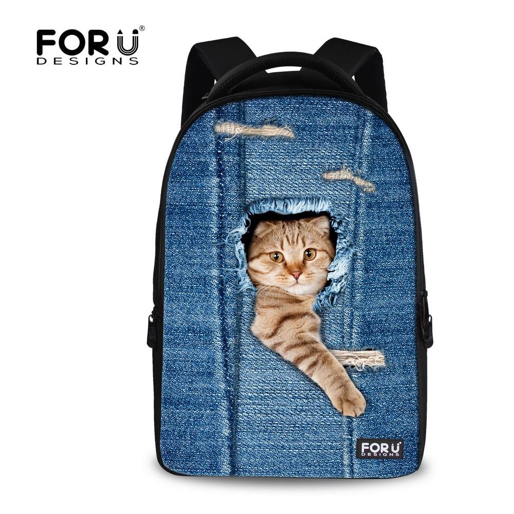 99d85389ee23 Brand Men Women Backpacks Cute Denim Cat Printing School Backpack for Children  Boys Girls Big Size School Book Bag-in Backpacks from Luggage   Bags on ...