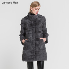 2019 Women Real Fur Coat Warm Top Quality Long Rabbit
