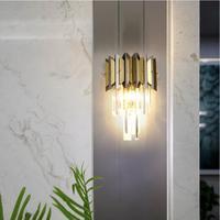 Yeni siyah duvar lambası paslanmaz çelik kristal duvar dekorasyon LED lamba oturma odası