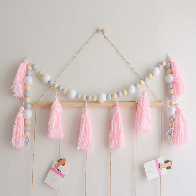Nordic Style Yarn Tel And Bead Garland Hanging With Decorations Bed Nursery Decor S