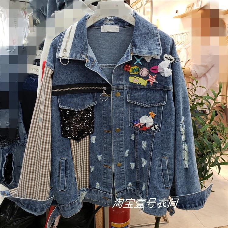 Veste en jean femme nouveaux trous et industrie lourde paillettes décoration Jeans vestes Harajuku manteaux printemps automne 2019