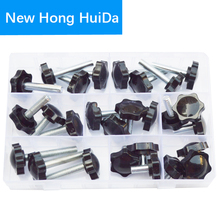 цена на Thread Star Shaped Head Clamping Screw Bolt Knob For Industry Equipment Plastic Carbon Steel Galvanization Assortment Kit Set M8