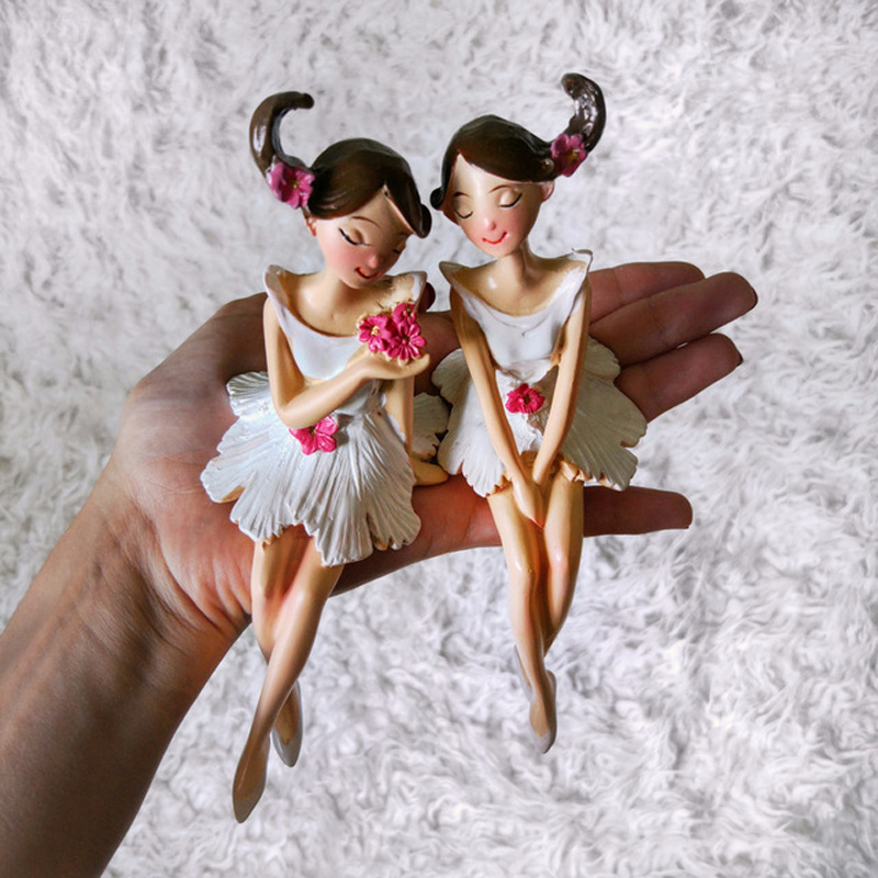 2 pcs / set Indah Malaikat Resin Kerajinan Peri Figurines Hadiah - Dekorasi rumah - Foto 5
