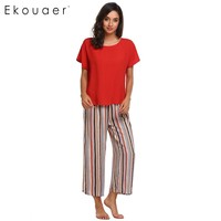 Ekouaer Women Casual Sleepwear Pajama Set Short Sleeve T Shirt Loose Striped Pants Pajamas Set Nighties