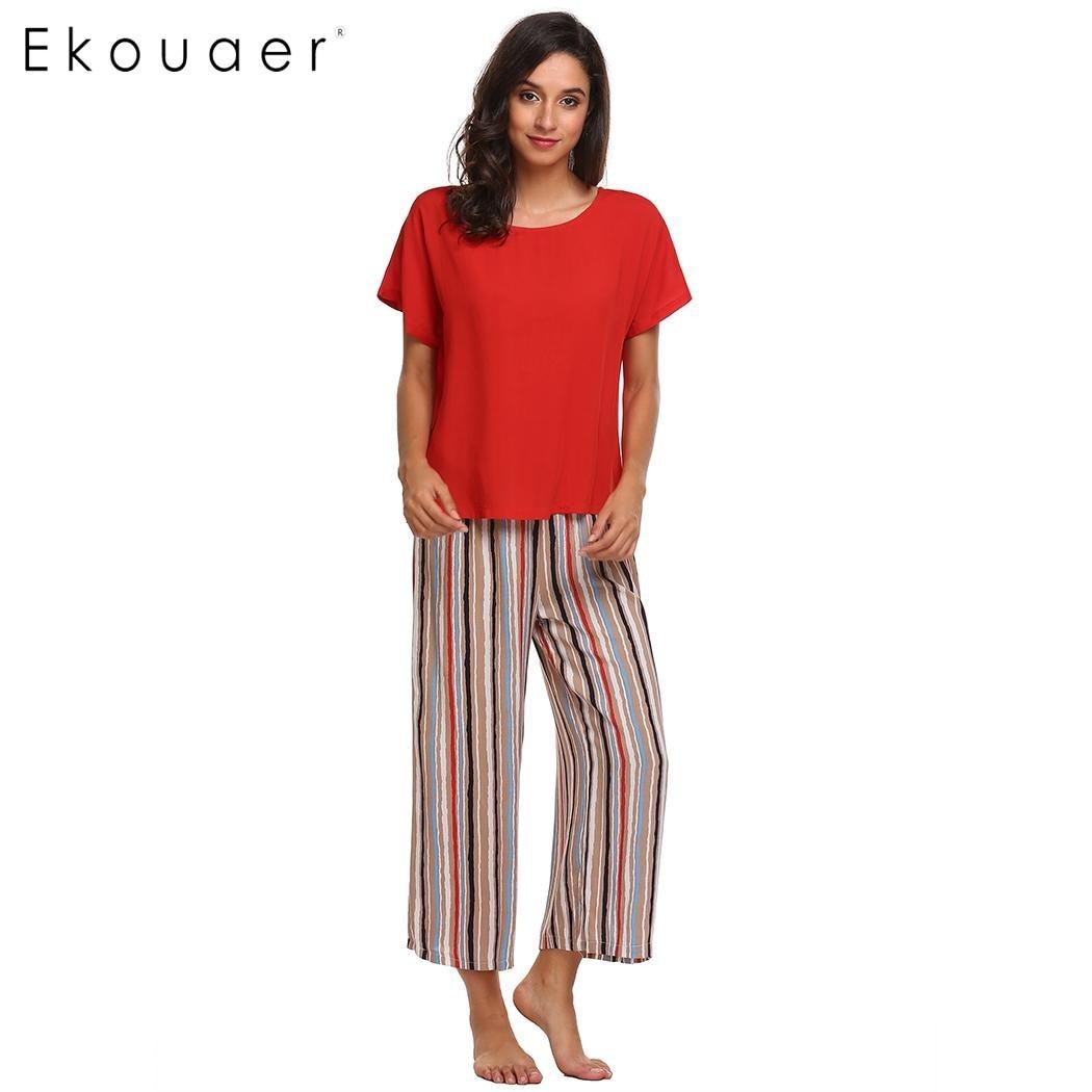 bb9944b601f88 Ekouaer Women Casual Sleepwear Pajama Set Short Sleeve T-shirt & Loose  Striped Pants Pajamas Set Nighties Female Home Clothing