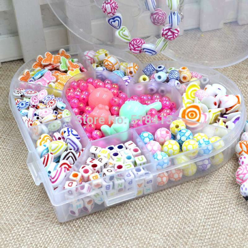 Pupils Beaded Material Box Of Homemade Hand String Necklace Bracelet Ring Send Children 12 Years Old Girl A Birthday Present
