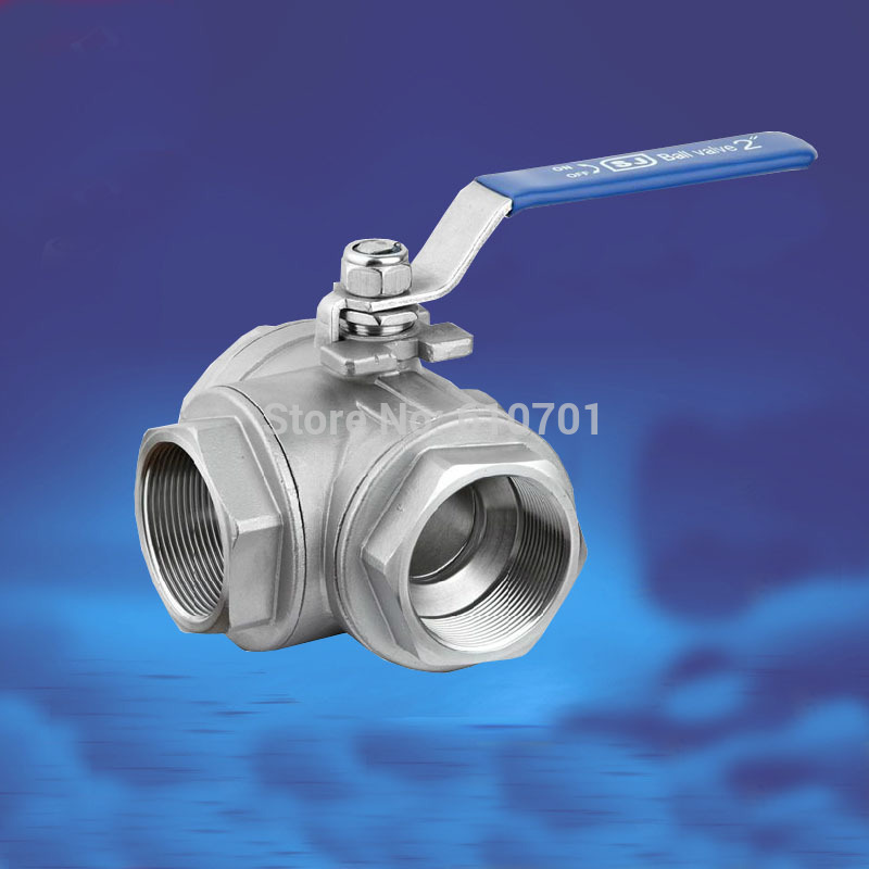 DN50 2 3 Way Female BSP SS304 Stainless Steel Type T or L Port Mountin Pad Ball Valve Vinyl Handle WOG1000
