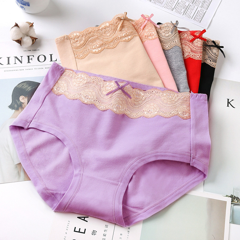PRTYWB Hot Sale Underware women Panties Cotton Lace bow mid Waist Abdomen Seamless briefs plus sizes sexy lingerie shorts tangas