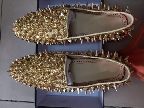 Show Glitter Partido Negro En De Nuevos Sliver Holgazanes Longlinecc Zapatos Oro Resbalón Boda as As Show Flats Mocasines Baile Shinny Pinchos Hombres Remaches CZPBxxtq