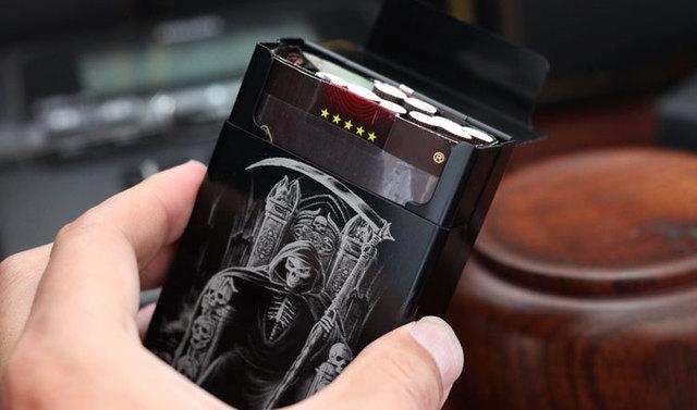 LAIFU Personalized ultra thin automatic cigarette case king dead male metal e cigarettes boxes laser designed smoke accessories