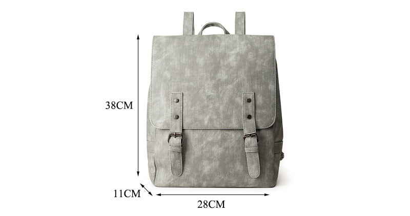 MJ Women Leather Backpack Female PU Leather Travel Bag Large Solid Color Travel Backpack Big School Bag for Teenage Girls (39)