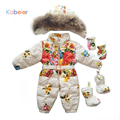 winter overalls for girls baby snowsuit flower snow clothes with belt coveralls newborn fuzz children's clothing for girls 3year