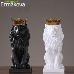 Estatua moderna de León de resina ERMAKOVA, figura del Rey León con corona dorada, figura de Animal, decoración de escritorio para el hogar y la Oficina