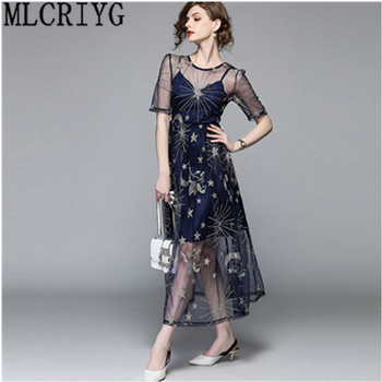 1c1bcdcd4 Traje Longue 2019 elegante verano de las mujeres Maxi Vestido de noche  Vestido de fiesta mujer bordado