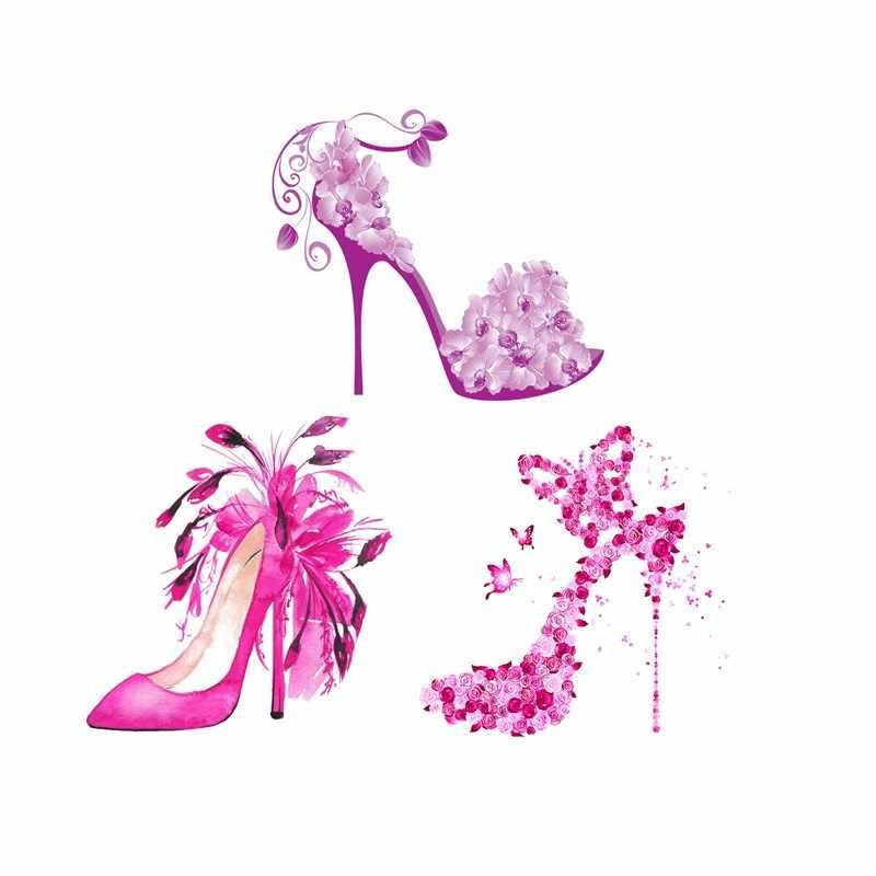 Красивые женские наклейки на высоком каблуке с термопечатью, стирающиеся для одежды, футболок, джинсовой ткани, самодельные Аппликации, новинка