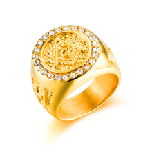HIP Hop Micro Pave Rhinestone Bling Iced Out Men Masonic Rings Stainless Steel for Jewelry Gold Color