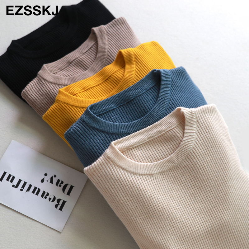 2019 Knitted Women o neck Sweater Pullovers spring Autumn Basic Women Sweaters Pullover Slim Fit Black