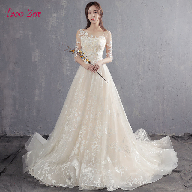 Taoo Zor Luxury Emproidery Lace Princess A Line Cut out Wedding ...