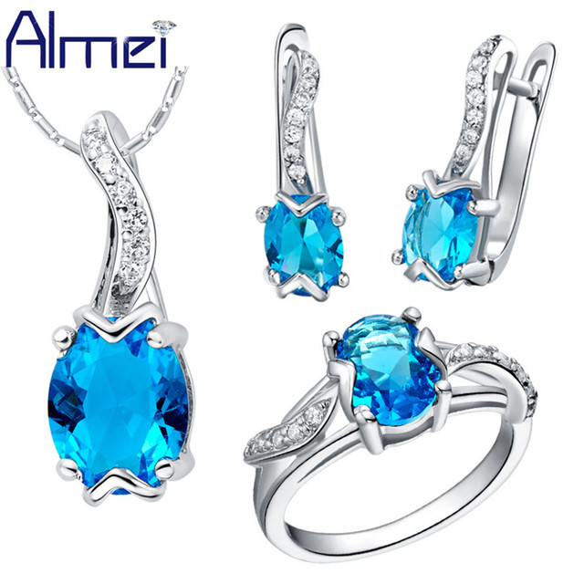 Almei Silver Bijoux Fashion Blue Amethyst Red Crystal Jewelry Set For Women Bridal Wedding Party Earrings Ring Necklace T231