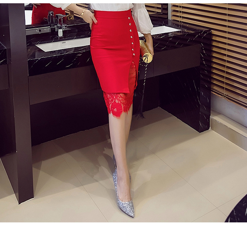 Women's Skirt High Waist Pencil Skirt Summer 2017 Fashion Women Knee Length Lace Patchwork Lady Formal Work Skirts Plus Size 17