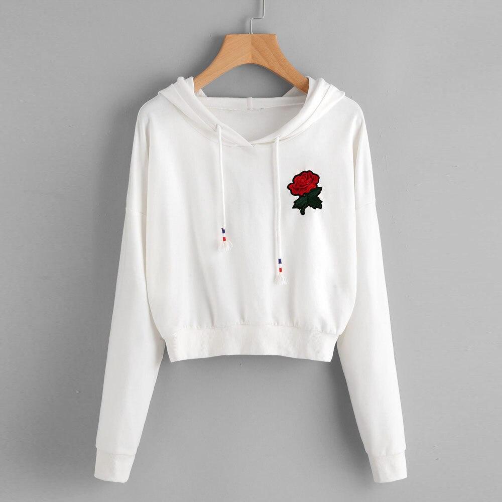 42b54bfdf8 Moletom com capuz Harajuku Apliques Feminino Camisola Rosa Floral Moletom  Com Capuz Streetwear Cropped Top Branco