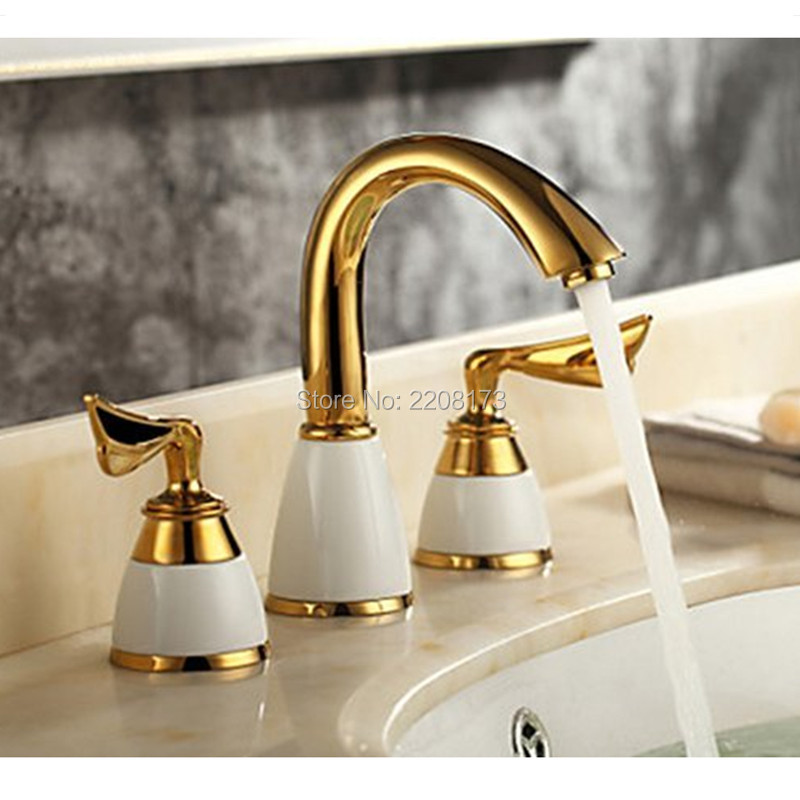 Smesiteli Hot Sale Luxury Bathroom Faucet 3 Pcs Golden Color Tap 2 Handle Waterfall Tap Bathroom Basin Sink Bathtub Mixer Faucet ouboni 3pcs set bathtub luxury golden plated bathroom faucet european split basin mixer tap ceramic faucet body cross handles