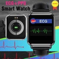 ECG PPG Relógio Inteligente bluetooth 4.0 heart rate monitor de Pressão Arterial Mensagem de Chamada Smartwatch Pedômetro À Prova D' Água Para iOS Android