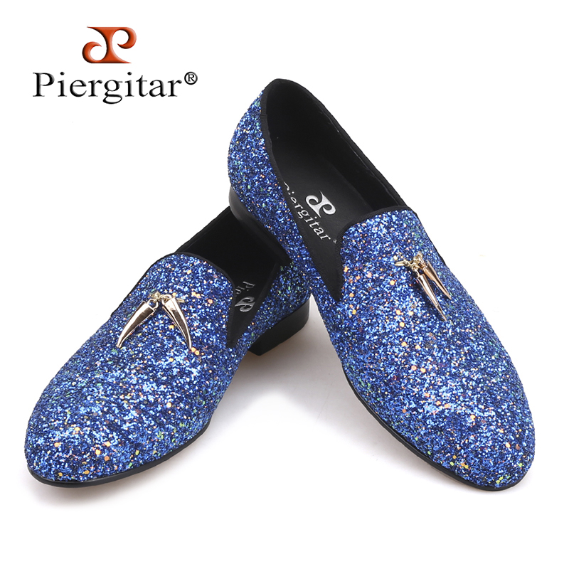 Piergitar 2018 new blue and sky blue colors handmade Classic men's loafers with gold metal tassels Party men leather shoes